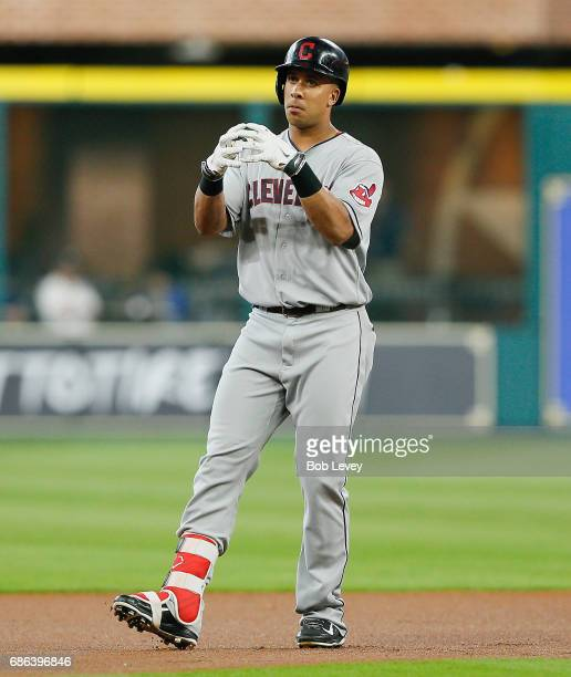 Michael Brantley of the Cleveland Indians doubles in the first inning against the Houston Astros at Minute Maid Park on May 21 2017 in Houston Texas