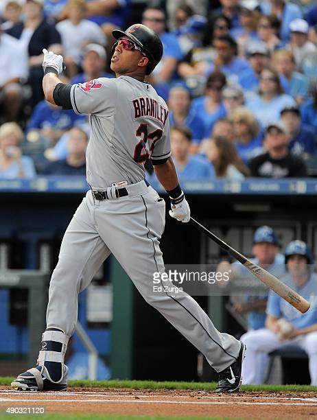 Michael Brantley of the Cleveland Indians fouls the ball off as he bats in the first inning against the Kansas City Royals at Kauffman Stadium on...