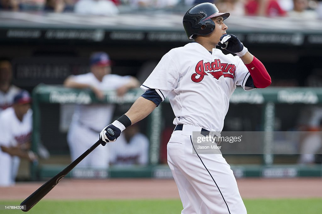 Michael Brantley #23 of the Cleveland Indians hits a solo home run during the second inning against the Tampa Bay Rays at Progressive Field on July 5, 2012 in Cleveland, Ohio.