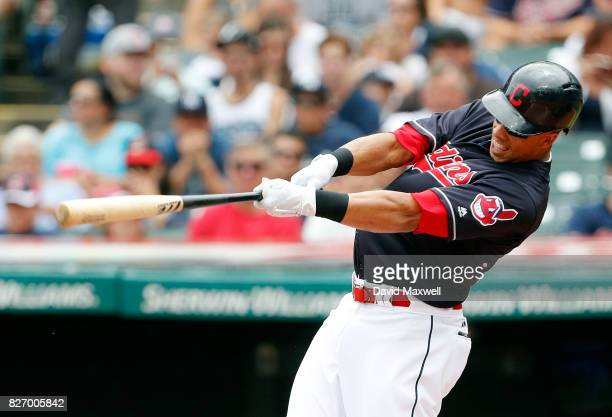 Michael Brantley of the Cleveland Indians hits a solo home run against the New York Yankees in the first inning at Progressive Field on August 6 2017...