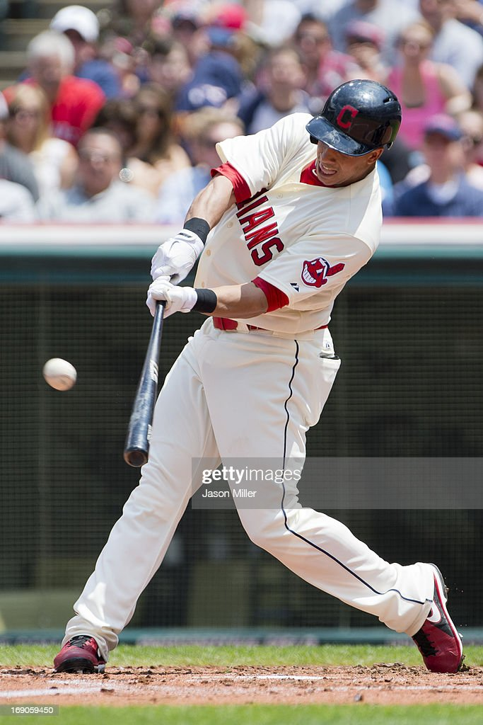 Michael Brantley #23 of the Cleveland Indians hits a three run home run during the second inning against the Seattle Mariners at Progressive Field on May 19, 2013 in Cleveland, Ohio.
