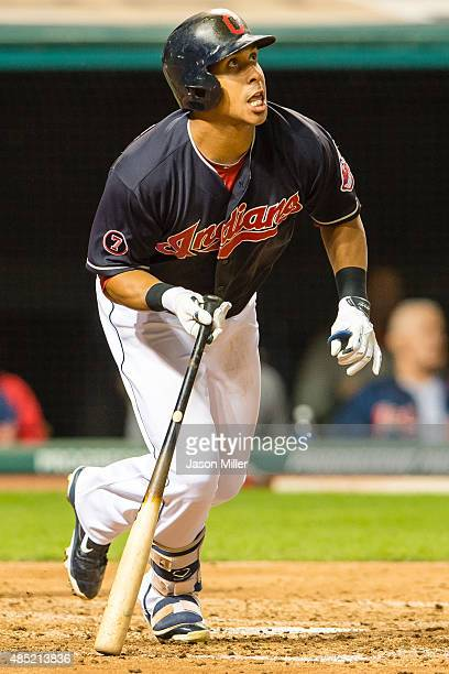 Michael Brantley of the Cleveland Indians hits a tworun home run during the fourth inning against the Milwaukee Brewers at Progressive Field on...