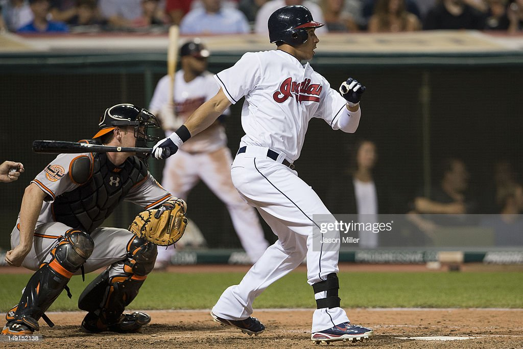 Michael Brantley #23 of the Cleveland Indians hits an RBI single during the eighth inning against the Baltimore Orioles at Progressive Field on July 23, 2012 in Cleveland, Ohio.