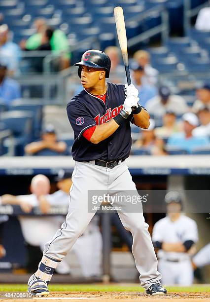 Michael Brantley of the Cleveland Indians in action against the New York Yankees at Yankee Stadium on August 20 2015 in the Bronx borough of New York...
