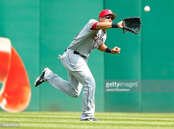 Michael Brantley of the Cleveland Indians makes a catch in center field in the first inning against the Pittsburgh Pirates during the interleague...