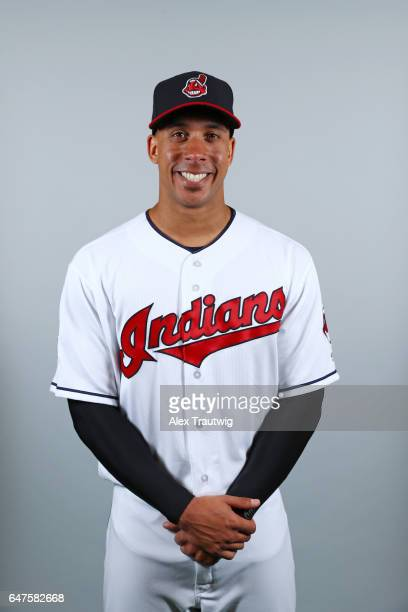 Michael Brantley of the Cleveland Indians poses during Photo Day on Friday February 24 2017 at Goodyear Ballpark in Goodyear Arizona