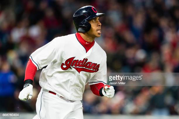 Michael Brantley of the Cleveland Indians round the bases after hitting a solo home run during the fifth inning against the Chicago White Sox at...