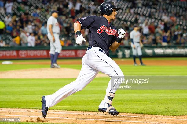 Michael Brantley of the Cleveland Indians rounds the bases after hitting a solo home run in the seventh inning against the Detroit Tigers at...