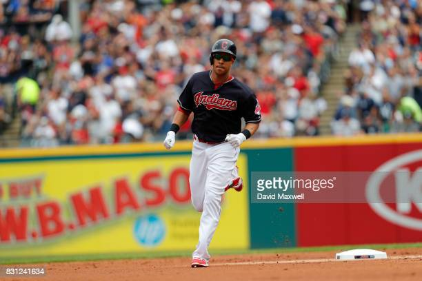 Michael Brantley of the Cleveland Indians rounds the bases after hitting a home run against the New York Yankees in the first inning at Progressive...
