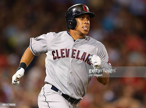 Michael Brantley of the Cleveland Indians rounds the bases after he hit a home run against the Boston Red Sox running in the seventh inning at Fenway...