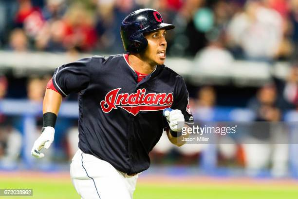 Michael Brantley of the Cleveland Indians rounds the bases on a solo home run during the ninth inning against the Houston Astros at Progressive Field...