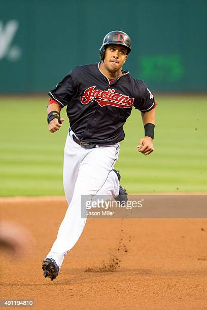Michael Brantley of the Cleveland Indians runs to third during the first inning against the Detroit Tigers at Progressive Field on September 10 2015...
