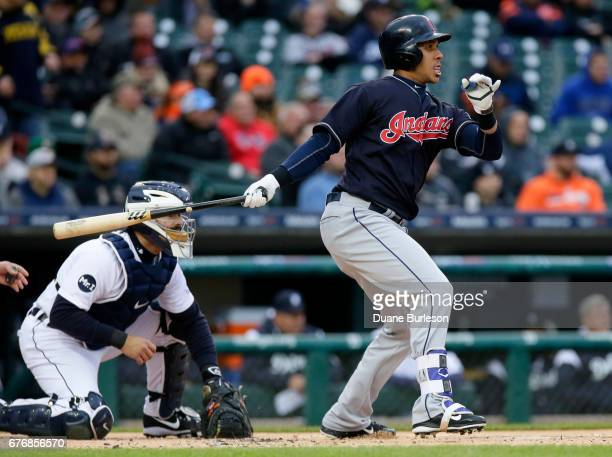 Michael Brantley of the Cleveland Indians singles against the Detroit Tigers during the first inning at Comerica Park on May 2 2017 in Detroit...
