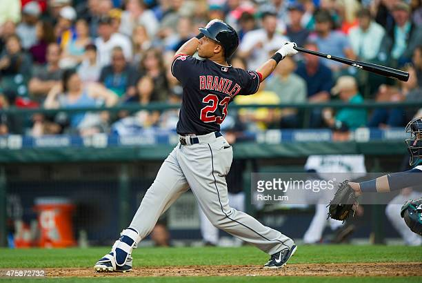 Michael Brantley of the Cleveland Indians swings at a pitch during MLB baseball action against the Seattle Mariners at Safeco Field on May 30 2015 in...