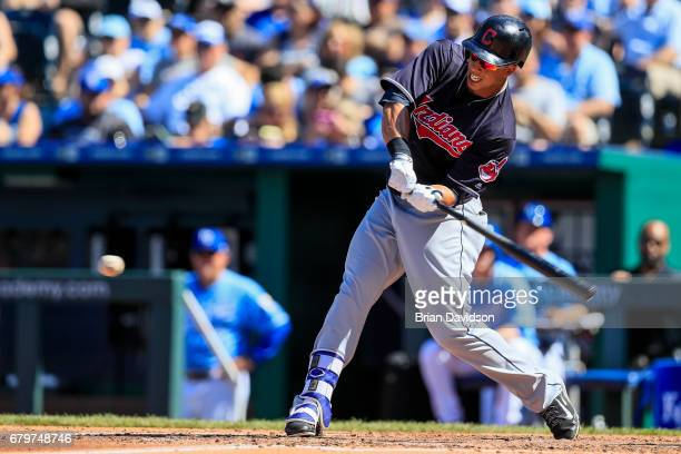 Michael Brantley of the Cleveland Indians swings at the ball during the third inning at Kauffman Stadium on May 6 2017 in Kansas City Missouri