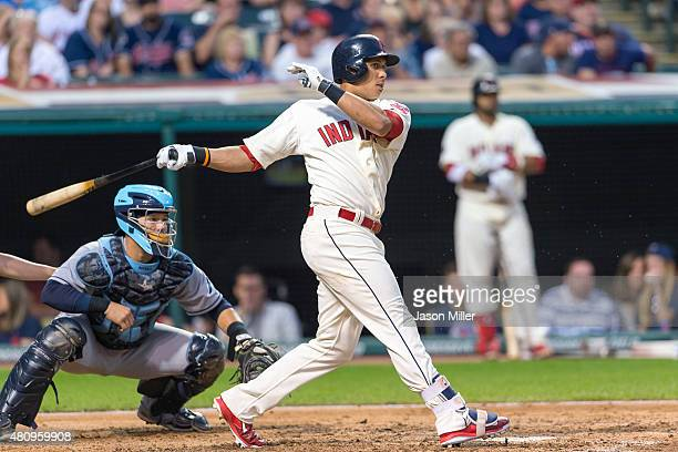 Michael Brantley of the Cleveland Indians up to bat during the sixth inning against the Tampa Bay Rays at Progressive Field on June 20 2015 in...