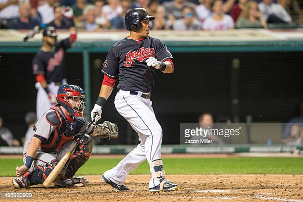 Michael Brantley of the Cleveland Indians up to bat during the third inning against the Minnesota Twins at Progressive Field on September 28 2015 in...