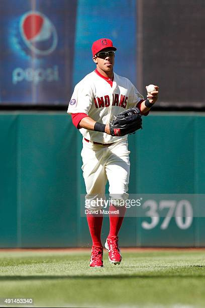 Michael Brantley of the Cleveland Indians walks from the outfield against the Chicago White Sox during the fifth inning of their game on September 20...