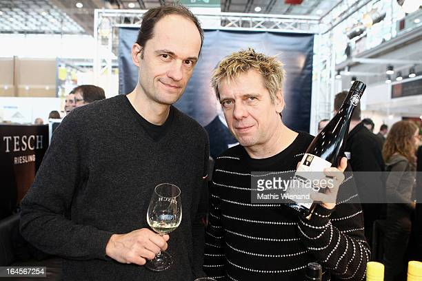 Michael Breitkopf and Andreas Meurer of 'Die Toten Hosen' at the wine testing for the new Tesch Riesling at the 'Pro Wein' Traide Fair Düsseldorf on...