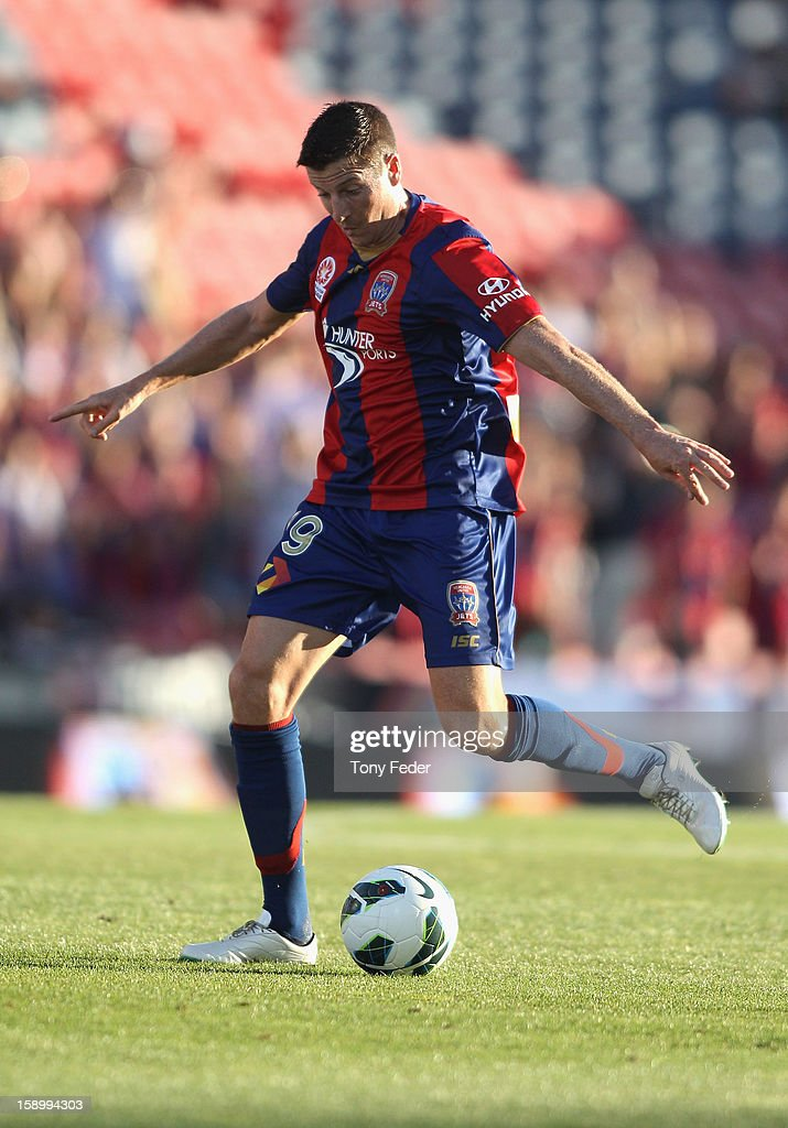 Michael Bridges of the Jets about to kick downfield during the round 15 A-League match between the Newcastle Jets and Adelaide United at Hunter Stadium on January 5, 2013 in Newcastle, Australia.