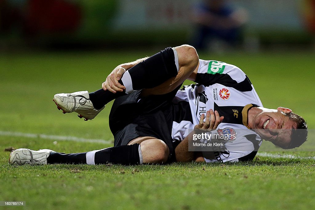 <a gi-track='captionPersonalityLinkClicked' href=/galleries/search?phrase=Michael+Bridges&family=editorial&specificpeople=233662 ng-click='$event.stopPropagation()'>Michael Bridges</a> of the Jets reacts during the round 25 A-League match between Adelaide United and the Newcastle Jets at Hindmarsh Stadium on March 15, 2013 in Adelaide, Australia.