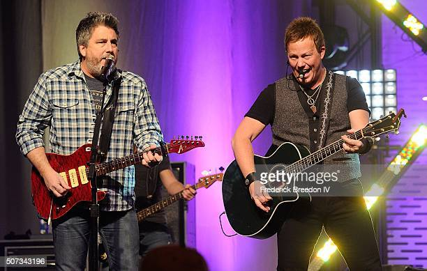 Michael Britt and Dean Sams of the band Lonestar performs at Honda Stage at the NHL Fan Fair presented by Bridgestone on January 28 2016 in Nashville...