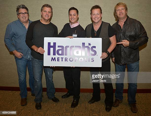 Michael Britt Richie McDonald Dean Sams and Keech Rainwater of Lonestar with Adverting and PR Supervisor Harrah's Metropolis Chad Lewis attend...