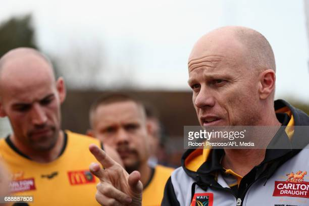 Michael Broadbridge of WAFL speaks during the match between VFL and WAFL at North Port Oval on May 27 2017 in Melbourne Australia