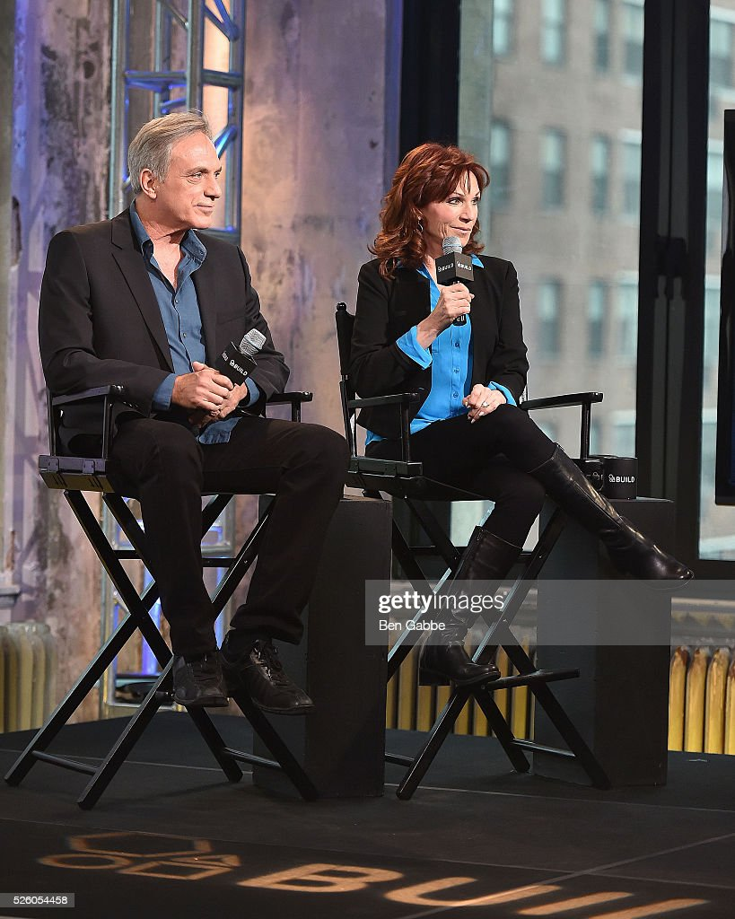 Michael Brown (L) and author <a gi-track='captionPersonalityLinkClicked' href=/galleries/search?phrase=Marilu+Henner&family=editorial&specificpeople=213140 ng-click='$event.stopPropagation()'>Marilu Henner</a> discuss 'Changing Normal: How I Helped My Husband Beat Cancer' at AOL Studios on April 29, 2016 in New York, New York.
