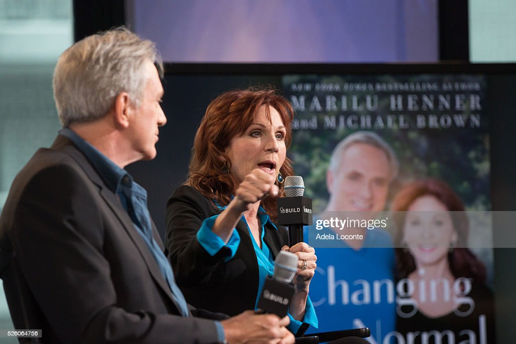 Michael Brown and <a gi-track='captionPersonalityLinkClicked' href=/galleries/search?phrase=Marilu+Henner&family=editorial&specificpeople=213140 ng-click='$event.stopPropagation()'>Marilu Henner</a> discuss 'Changing Normal: How I Helped My Husband Beat Cancer' at AOL Studios In New York on April 29, 2016 in New York City.