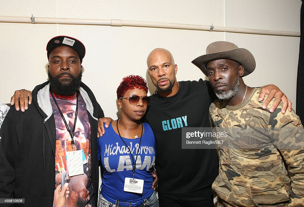 Michael Brown Sr., Lesley McSpadden, Common and Michael K. Williams pose backstage during the BET Hip Hop Awards 2014 at Boisfeuillet Jones Atlanta Civic Center on September 20, 2014 in Atlanta, Georgia.