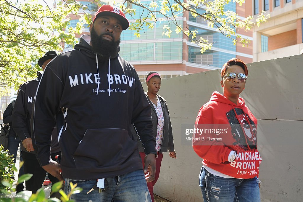 Michael Brown Sr. (L), Lesley McSpadden (R), parents of slain 18 year-old Michael Brown Jr. and other family members of the Michael Brown Family arrive prior to a press conference outside the St. Louis County Court Building on April 23, 2015 in Clayton, Missouri. Family members have announced a civil lawsuit over the death of Michael Brown Jr. this past August in Ferguson, Missouri. (Photo by Michael B. Thomas/Getty Images) Local Caption: Michael Brown Sr.; Lesley McSpadden