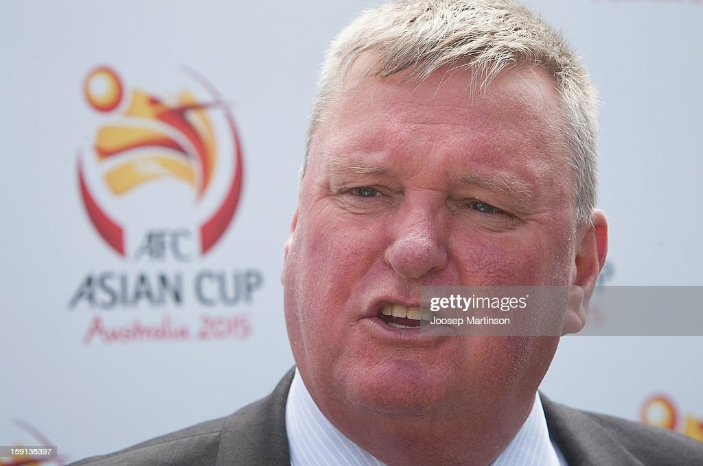 Michael Brown talks to media during a press conference at Queen's Park on January 9, 2013 in Sydney, Australia. Today marks two years until the 2015 Asian Cup held in Australia.
