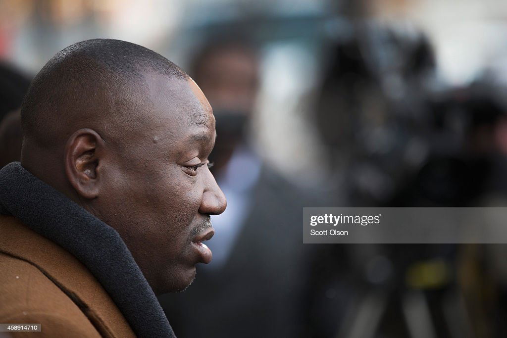 Michael Browns family attorney <a gi-track='captionPersonalityLinkClicked' href=/galleries/search?phrase=Benjamin+Crump+-+Attorney&family=editorial&specificpeople=9042867 ng-click='$event.stopPropagation()'>Benjamin Crump</a> speaks to reporters outside the Buzz Westfall Justice Center, where the grand jury is hearing testimony about Brown's shooting death, on November 13, 2014 in Clayton, Missouri. Crump called for peaceful demonstrations from protesters when the grand jurys decision is announced. Rioting broke out in in nearby Ferguson, Missouri after Brown was killed by Darren Wilson, a Ferguson police officer, on August 9. The city is hoping to avoid a repeat of those riots if the grand jury investigating the shooting does not find justification to prosecute Wilson. The grand jurys decision is expected sometime in November.