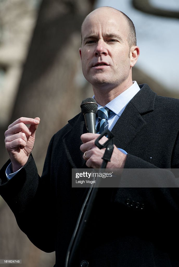 Michael Brune protests against Keystone XL Pipeline at Lafayette Park on February 13, 2013 in Washington, DC.