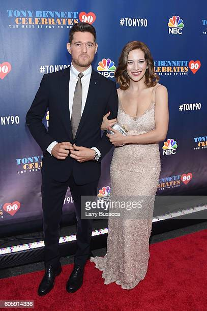 Michael Buble and Luisana Lopilato attend as Tony Bennett Celebrates 90 The Best Is Yet To Come at Radio City Music Hall on September 15 2016 in New...
