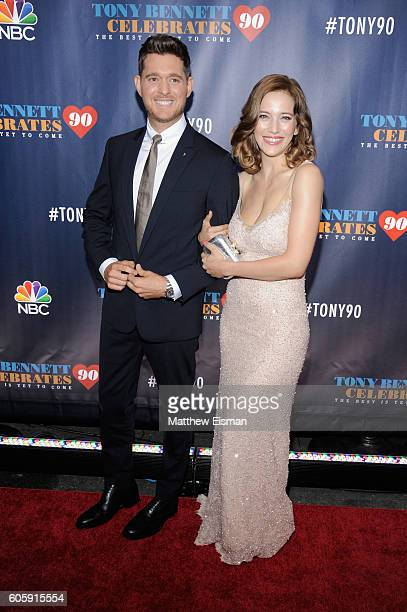 Michael Buble and Luisana Lopilato attend Tony Bennett Celebrates 90 The Best Is Yet To Come at Radio City Music Hall on September 15 2016 in New...