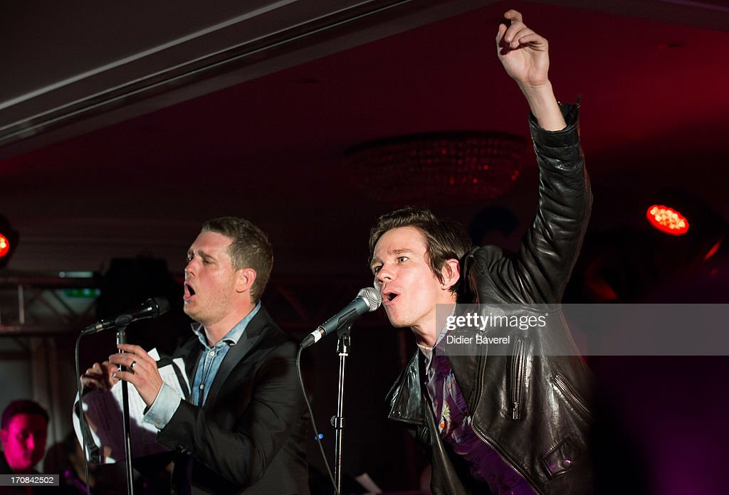 Michael Buble (L) and Nate Ruess (R) perform at Clear Channel Media and Entertainment and MediaLink VIP Event at Hotel Du Cap-Eden-Roc on June 18, 2013 in Cannes, France.