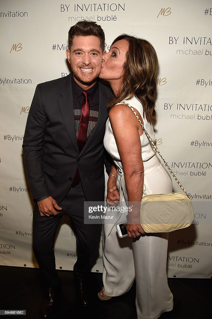 Michael Buble and Rosanna Scotto attend the Michael Buble By Invitation Fragrance launch at Edison Ballroom on August 24 2016 in New York City