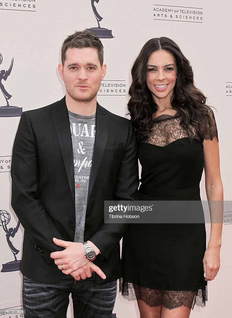 <a gi-track='captionPersonalityLinkClicked' href=/galleries/search?phrase=Michael+Buble&family=editorial&specificpeople=215140 ng-click='$event.stopPropagation()'>Michael Buble</a> and <a gi-track='captionPersonalityLinkClicked' href=/galleries/search?phrase=Terri+Seymour&family=editorial&specificpeople=226697 ng-click='$event.stopPropagation()'>Terri Seymour</a> attend the Academy of Television Arts & Sciences presents an evening with <a gi-track='captionPersonalityLinkClicked' href=/galleries/search?phrase=Michael+Buble&family=editorial&specificpeople=215140 ng-click='$event.stopPropagation()'>Michael Buble</a> at the Wadsworth Theater on April 28, 2013 in Los Angeles, California.