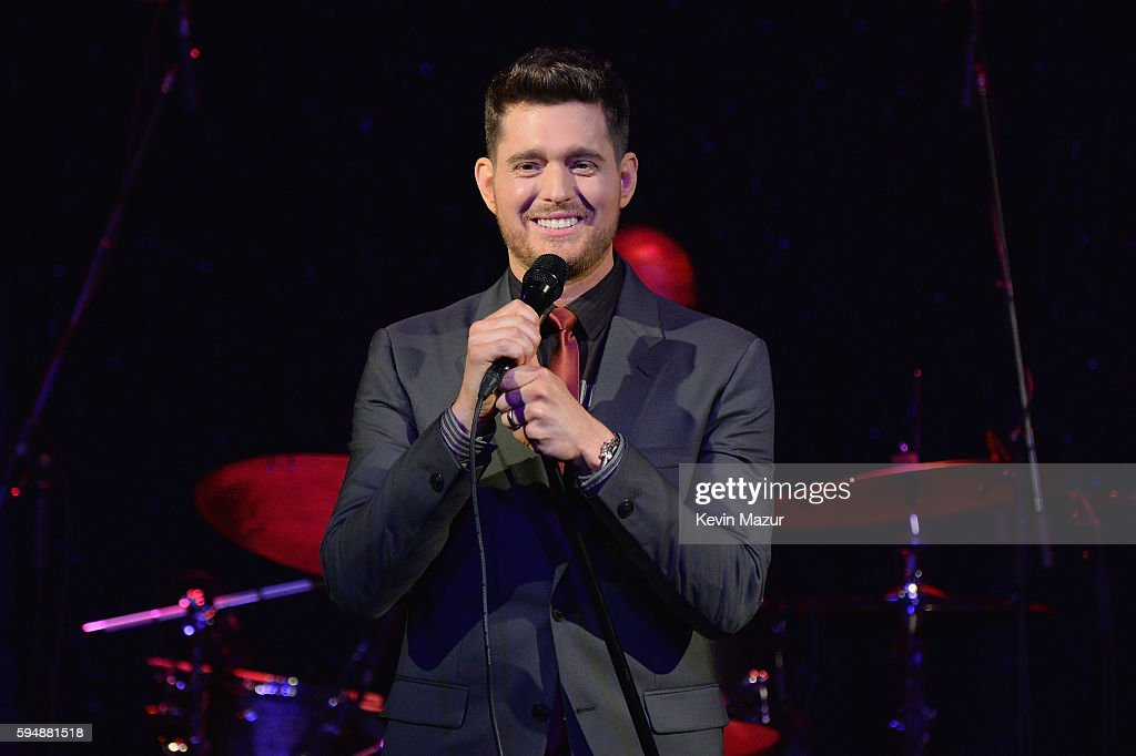 Michael Buble performs at his By Invitation Fragrance launch at Edison Ballroom on August 24 2016 in New York City