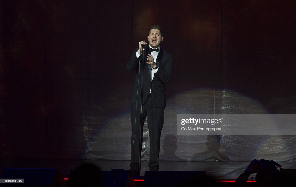 <a gi-track='captionPersonalityLinkClicked' href=/galleries/search?phrase=Michael+Buble&family=editorial&specificpeople=215140 ng-click='$event.stopPropagation()'>Michael Buble</a> performs at the Arena at Gwinnett Center on October 27, 2013 in Duluth, Georgia.