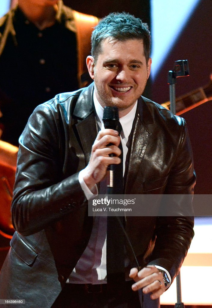 <a gi-track='captionPersonalityLinkClicked' href=/galleries/search?phrase=Michael+Buble&family=editorial&specificpeople=215140 ng-click='$event.stopPropagation()'>Michael Buble</a> performs during 'Wetten, dass..?' TV Show at Stadthalle on March 23, 2013 in Vienna, Austria.