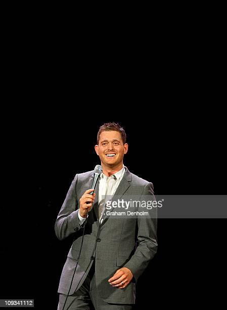 Michael Buble performs on stage at Rod Laver Arena on February 22 2011 in Melbourne Australia