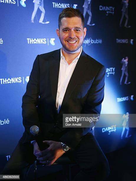 Michael Buble poses for media at a press conference on April 24 2014 in Sydney Australia