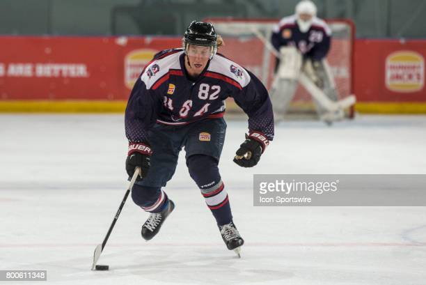 Michael Budd of Team USA controls the puck during the Melbourne Game of the Ice Hockey Classic on June 24 2017 held at Hisence Arena Melbourne...