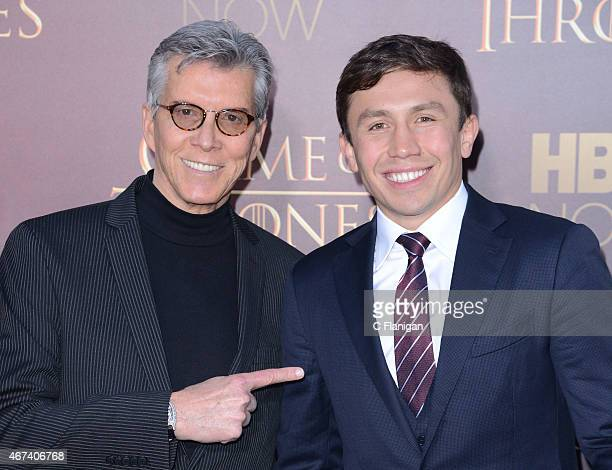 Michael Buffer and Boxer Gennady Golovkin attend HBO's 'Game of Thrones' Season 5 Premiere and After Party at the San Francisco Opera House on March...
