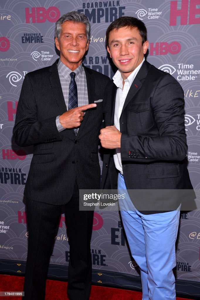 <a gi-track='captionPersonalityLinkClicked' href=/galleries/search?phrase=Michael+Buffer&family=editorial&specificpeople=224006 ng-click='$event.stopPropagation()'>Michael Buffer</a> (L) and <a gi-track='captionPersonalityLinkClicked' href=/galleries/search?phrase=Gennady+Golovkin&family=editorial&specificpeople=10619206 ng-click='$event.stopPropagation()'>Gennady Golovkin</a> attend the 'Boardwalk Empire' season four New York premiere at Ziegfeld Theater on September 3, 2013 in New York City.