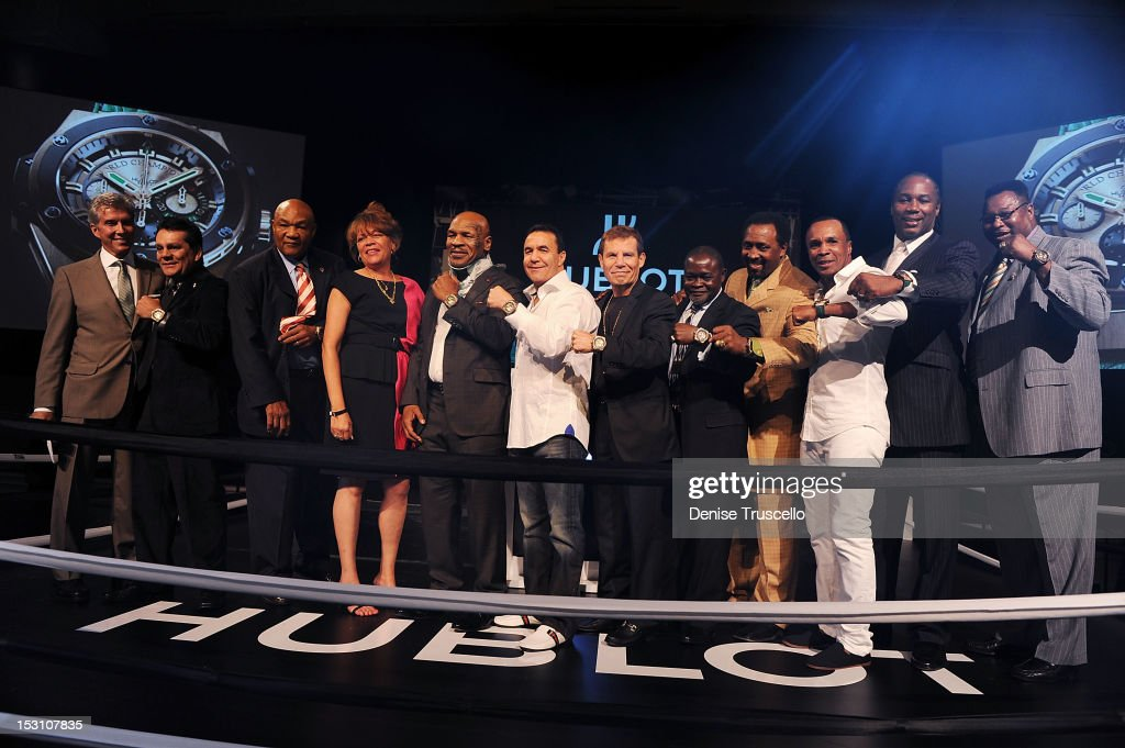 Michael Buffer, Roberto Duran, George Foreman, Mike Tyson, Jeff Fenech, Julio Cesar Chavez, Azuma Nelson, Tommy Hearns, Sugar Ray Leonard, Lennox Lewis and Larry Holmes attend 'A Legendary Evening With Hublot And WBC' at Bellagio Las Vegas on September 29, 2012 in Las Vegas, Nevada.