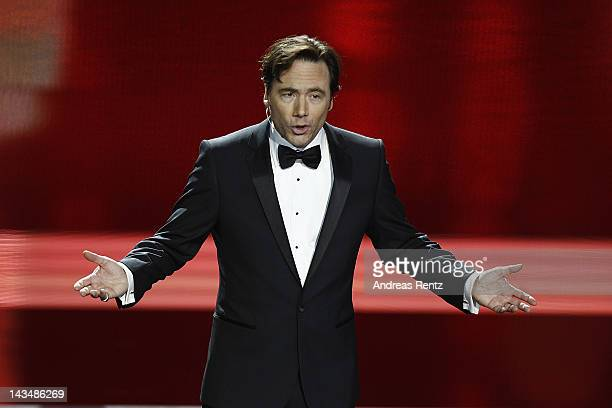 Michael 'Bully' Herbig speaks onstage during the Lola German Film Award 2012 Show at FriedrichstadtPalast on April 27 2012 in Berlin Germany